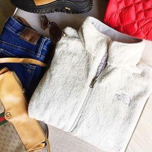 North Face Furry Fleece zip down Jacket Dove White